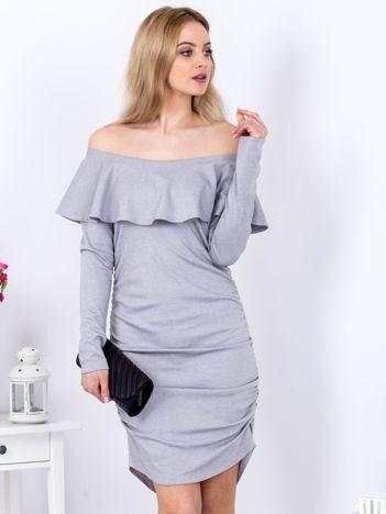 Szara marszczona sukienka z dekoltem carmen