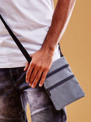Szara materiałowa torba saszetka