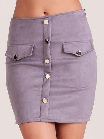 Szara ołówkowa spódnica z imitacji zamszu