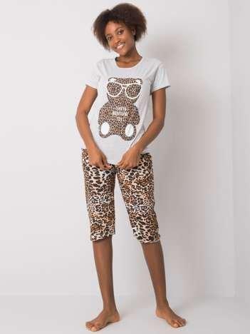 Szara piżama damska z printem