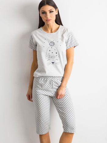 Szara piżama w gwiazdki