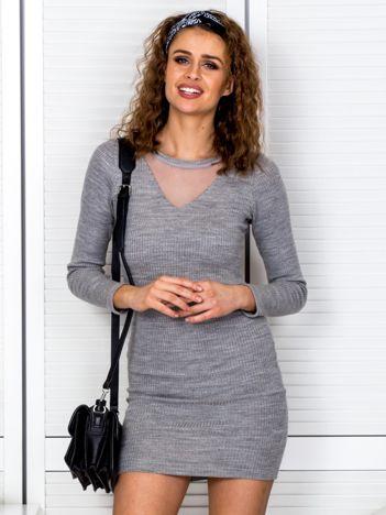 Szara prążkowana sukienka z siatkową wstawką