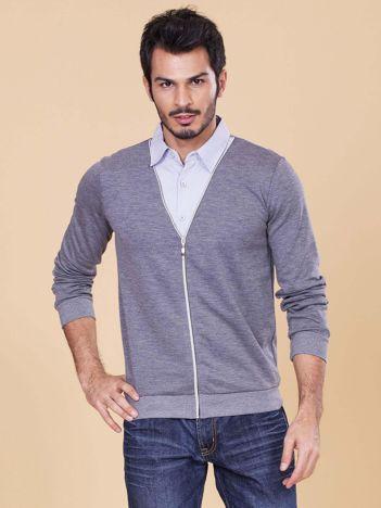 Szara rozpinana bluza męska z koszulą