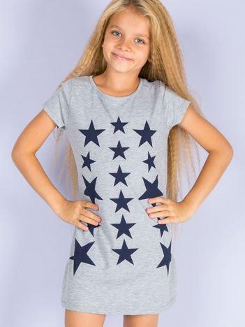 Szara sukienka dla dziewczynki z gwiazdkami