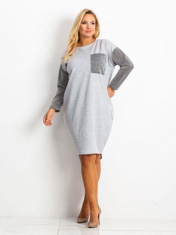 Szara sukienka plus size Desire