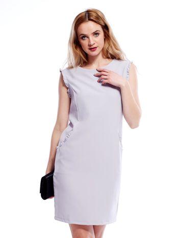 Szara sukienka z drobnymi falbankami