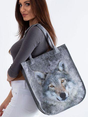 Szara torba filcowa z nadrukiem wilka