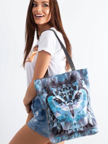 Szara torba na ramię z nadrukiem sowy