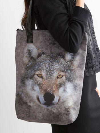 Szara torba z nadrukiem wilka