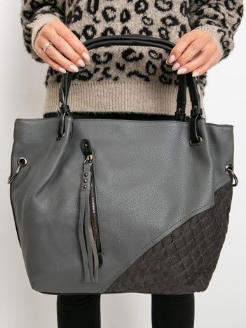 Szara torebka z pikowaniem