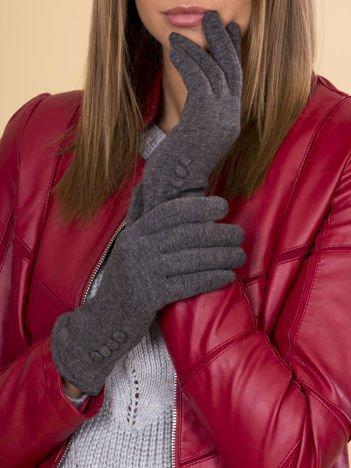 Szare Rękawiczki Damskie Z Guzkiami