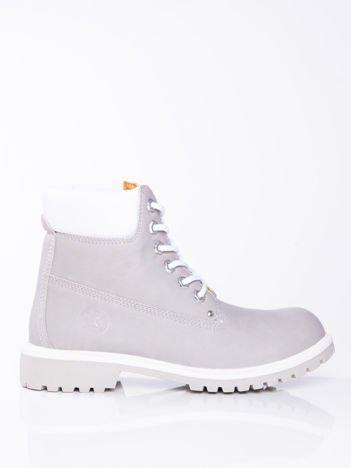 Szare buty trekkingowe damskie, ocieplane traperki z jasną podeszwą i białą cholewką