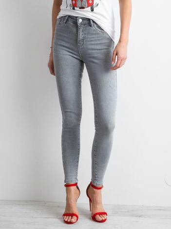 Szare damskie jeansy high waist