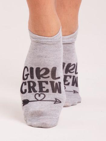 Szare damskie stopki z nadrukiem GIRL CREW