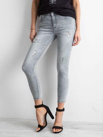 Szare jeansowe rurki high waist