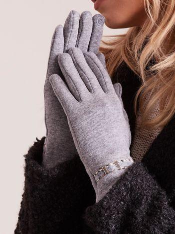 Szare klasyczne rękawiczki z klamerką