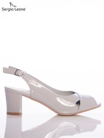 Szare lakierowane sandały Sergio Leone