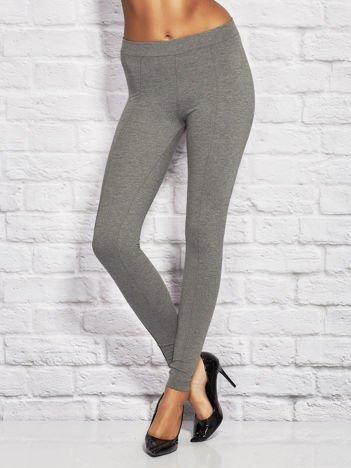 Szare legginsy damskie w kant