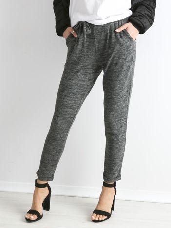 Szare melanżowe spodnie damskie