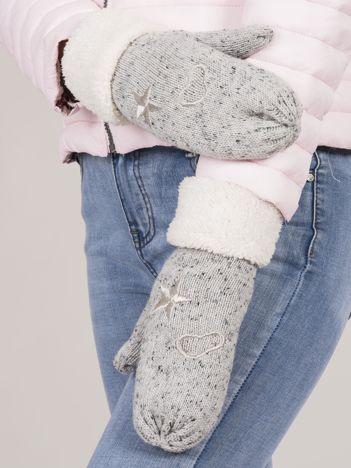 Szare rękawiczki z jednym palcem z haftem