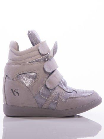 Szare sneakersy z efektem glitter, z cholewka za kostkę i ozdobnymi przeszyciami