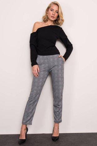 Szare spodnie w kratkę BSL