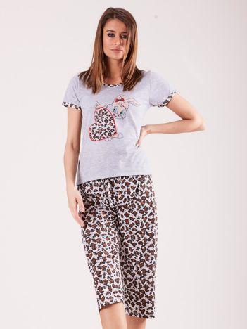 Szaro-biała piżama damska z motywem zwierzęcym