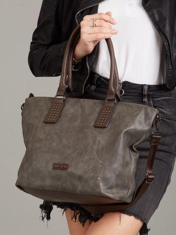 Szaro-brązowa torba shopper