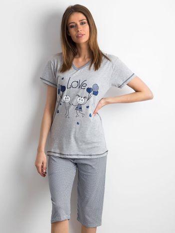 Szaro-granatowa piżama damska z nadrukiem