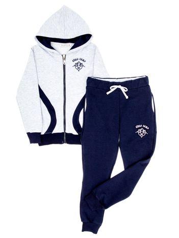 Szaro-granatowy komplet dla dziewczynki spodnie i bluza