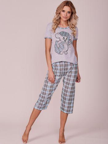 Szaro-jasnoniebieska piżama w kratkę