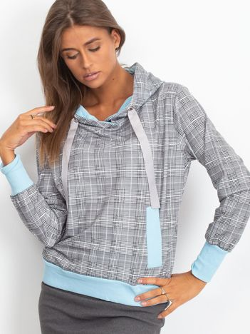 Szaro-niebieska lekka bluza w kratkę z kapturem i troczkami