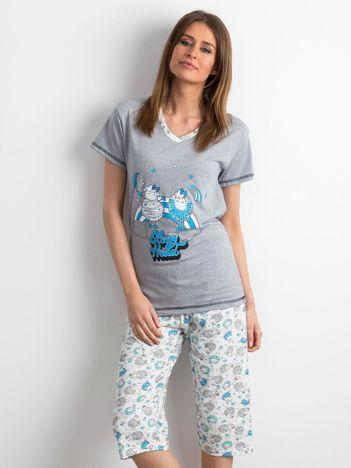 Szaro-niebieska piżama w owce