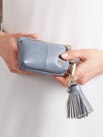 Szaro-niebieska skórzana portmonetka z zawieszkami