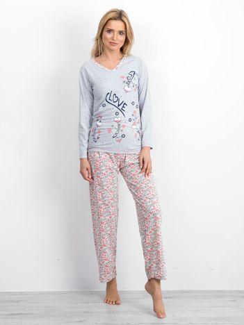 Szaro-różowa bawełniana piżama
