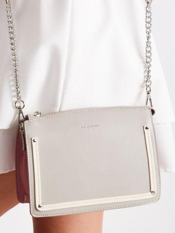Szaro-różowa elegancka torebka