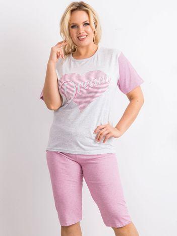 Szaro-różowa piżama PLUS SIZE