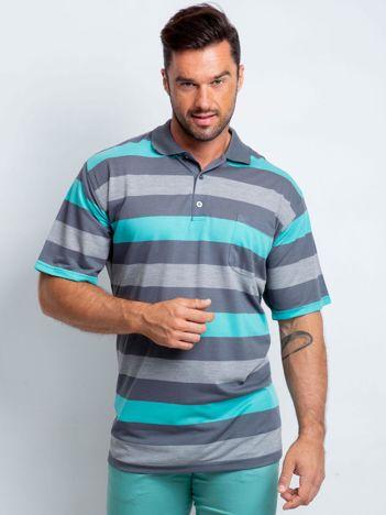 Szaro-turkusowa męska koszulka polo plus size Crowdy