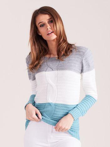 Szaro-turkusowy sweter w szerokie pasy
