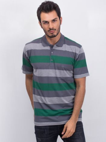 Szaro-zielona męska koszulka polo Scouring