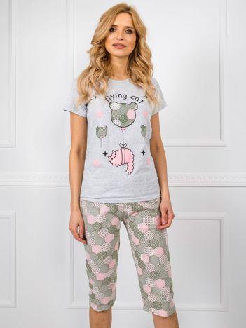 Szaro-zielona piżama z nadrukiem