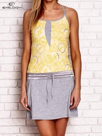 Szaro-żółta sukienka z niskim stanem i kieszeniami