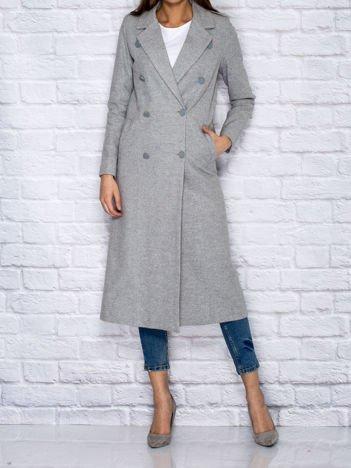 Szary długi dwurzędowy płaszcz