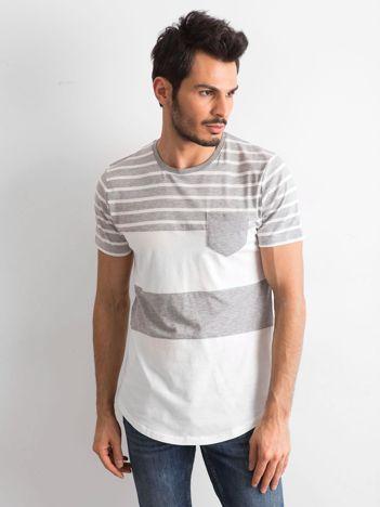 Szary-ecru t-shirt męski w paski