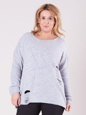 Szary luźny sweter PLUS SIZE