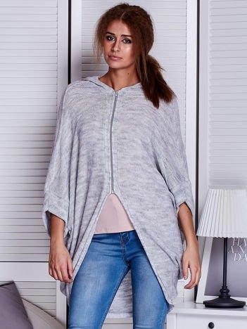 Szary luźny sweter na suwak