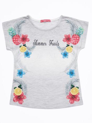 Szary ombre t-shirt dziewczęcy z tropikalnym nadrukiem