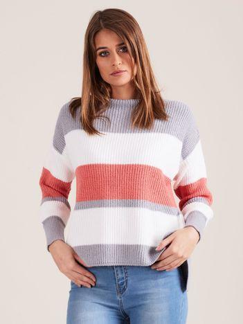 Szary sweter damski w paski