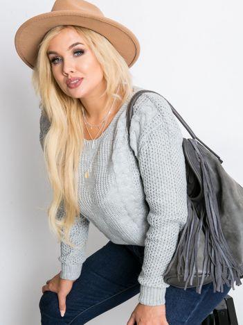 Szary sweter plus size Ruffle