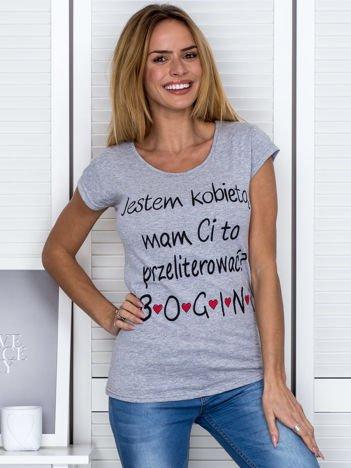 Szary t-shirt JESTEM KOBIETĄ